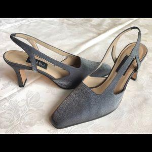 Van Eli silver/gray fabric slingbacks 9 N